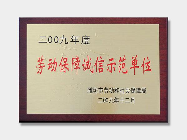 2009劳动保障诚信示范单位