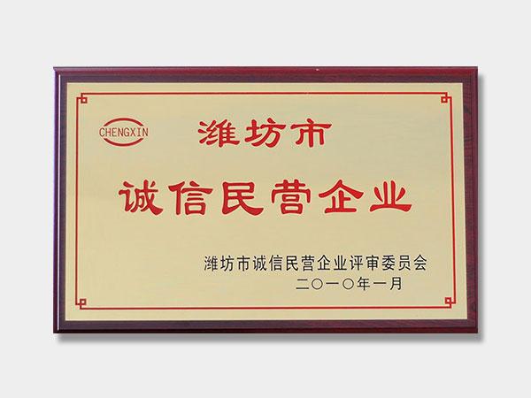 2010年诚信民营企业