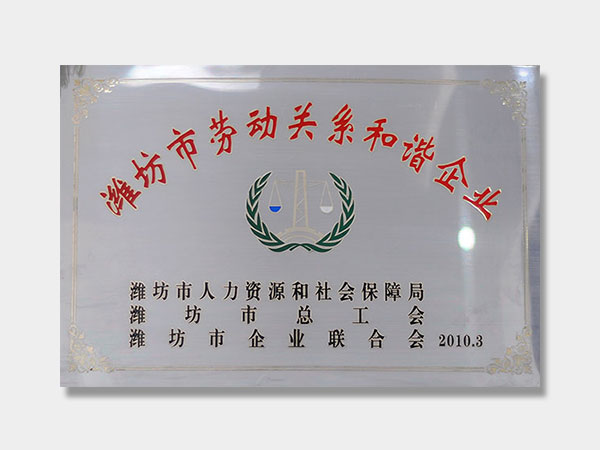 潍坊市劳动关系和谐企业