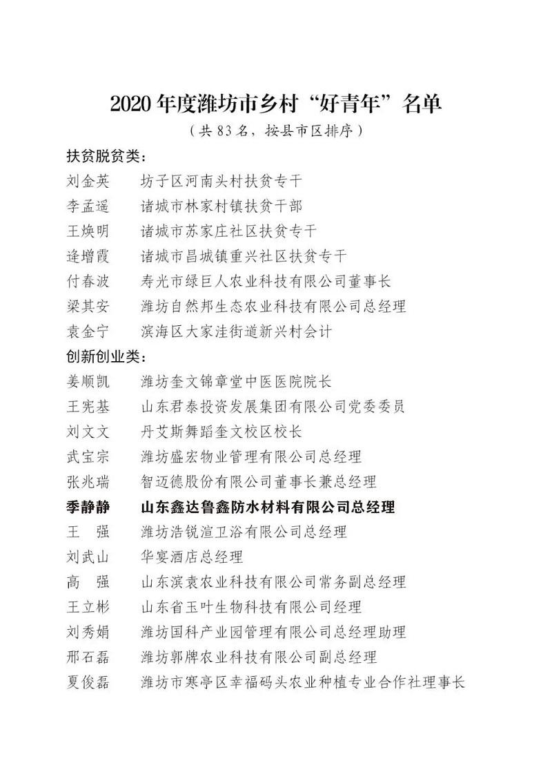 """明升赌场防水总经理季静静荣获2020年度潍坊市乡村""""好青年""""!"""