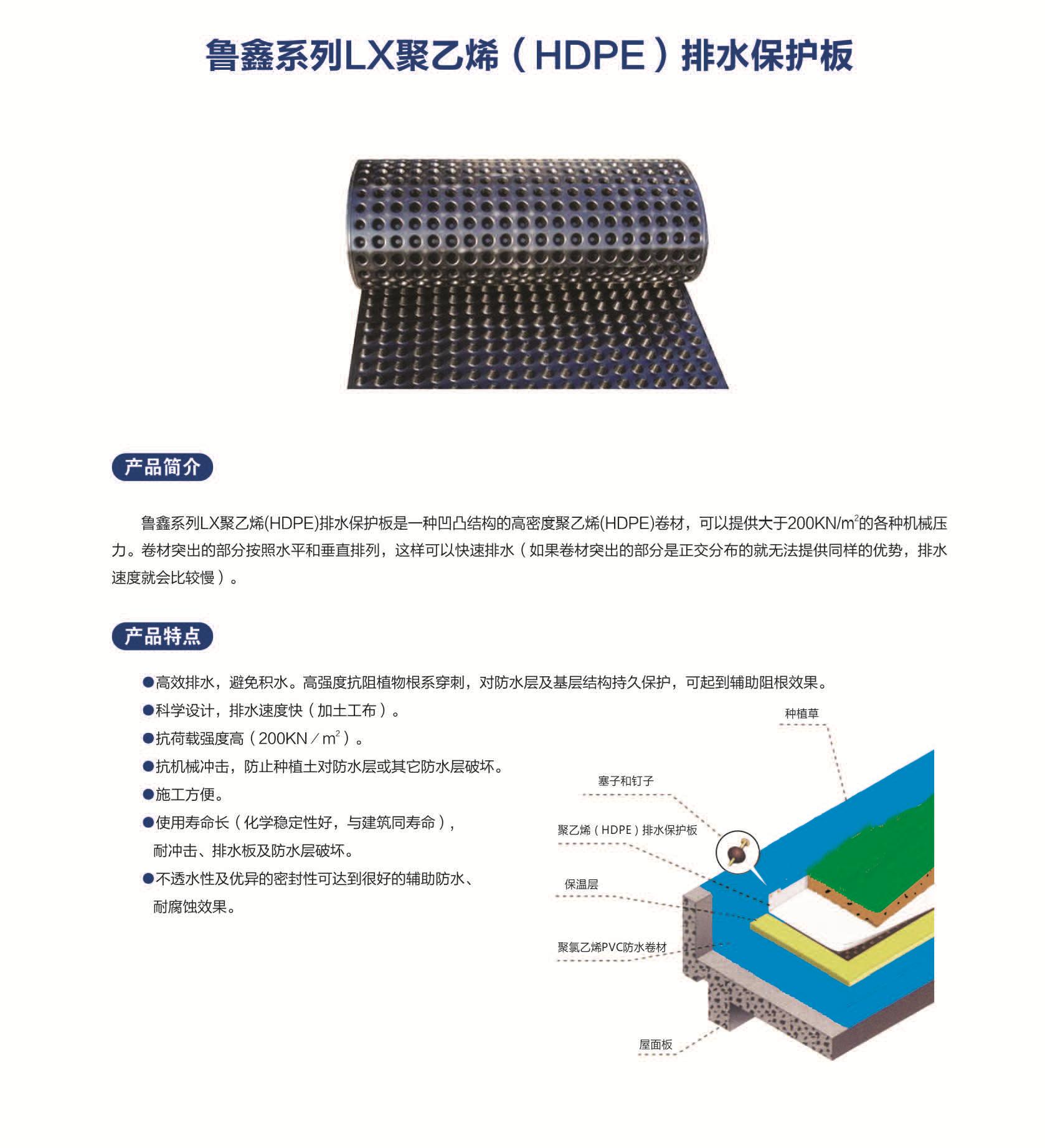 LX聚乙烯(HDPE)排水保护板